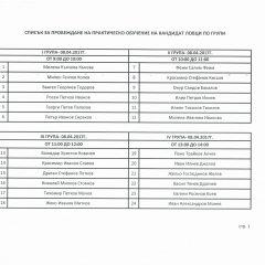 Списък за провеждане на практическо обучение на кандидат ловци по групи 08-09.04.2017г.